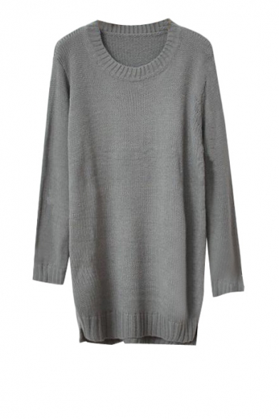 Plain round neck long sleeve tunic sweater with dip hem