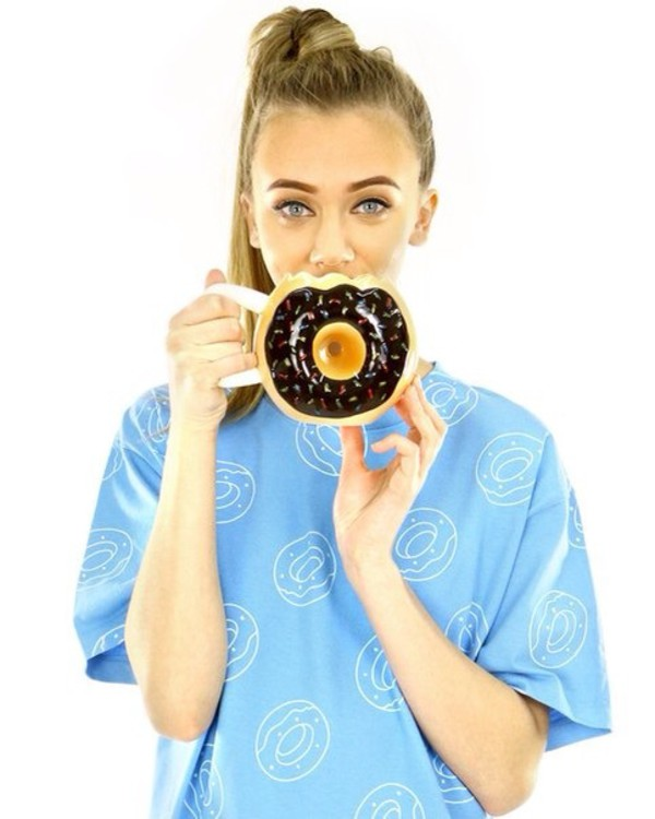 t-shirt cool mug donut blue