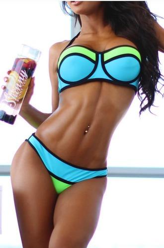 swimwear bikini triangle triangle bikini green blue