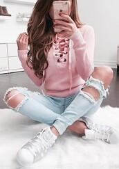 jeans,colorful,adidas,sweatshirt,tumblr,hair,nail polish,white,blue,pink,hipster,coachella,aesthetic