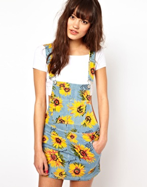 Joyrich Joyrich Sunflower Overalls Dress At Asos