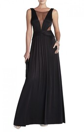 bcbg magdalena draped jersey evening gown black