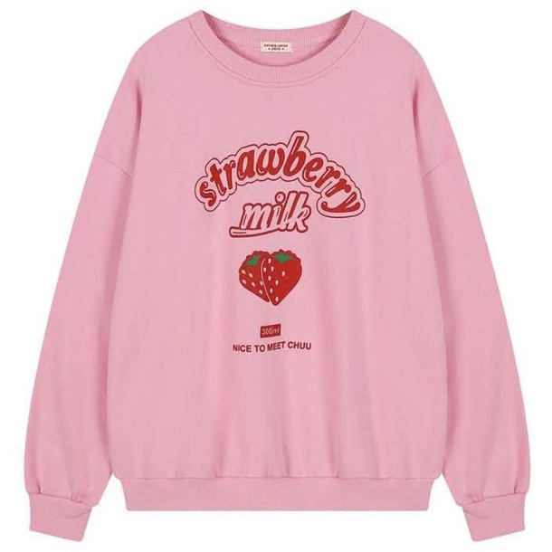 sweater strawberry milk sweater strawberry milk shirt strawberry milk pink sweater pink sweatshirt