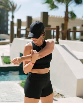 top tumblr hat cap crop tops black crop top black top black shorts shorts activewear sportswear black baseball hat