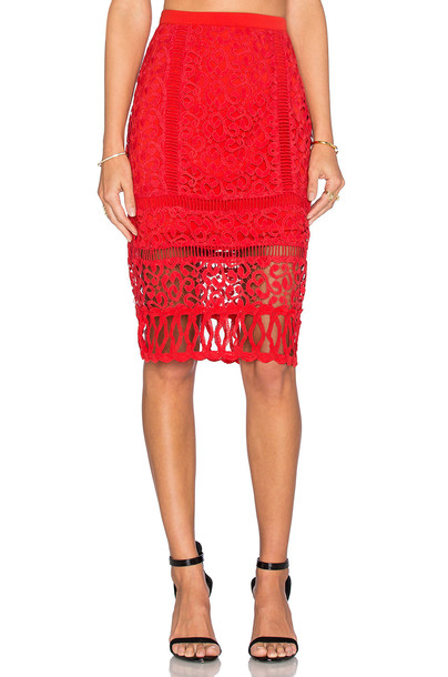 Greylin skirt pencil skirt lace red