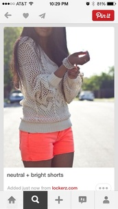shorts,neon coral shorts,sweater