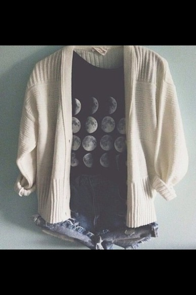 grey top t-shirt shorts dark grey a t-shirt silver moon moons sweater knit sweater winter sweater cute sweaters cute outfits high-wasted denim shorts denim short swag