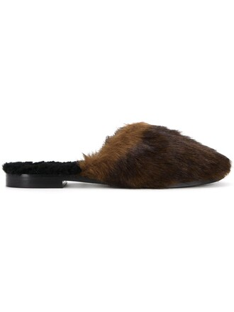 women slippers leather brown shoes