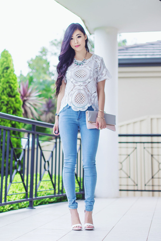 metallic paws blogger top jewels bag jeans shoes