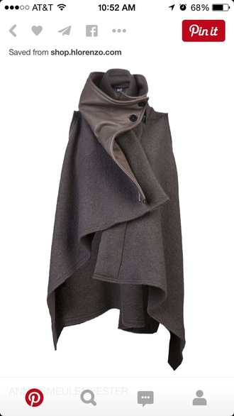 coat black and grey leather jacket wool