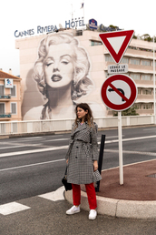 the fashion fraction,blogger,coat,shirt,pants,shoes,bag,red pants,sneakers,spring outfits