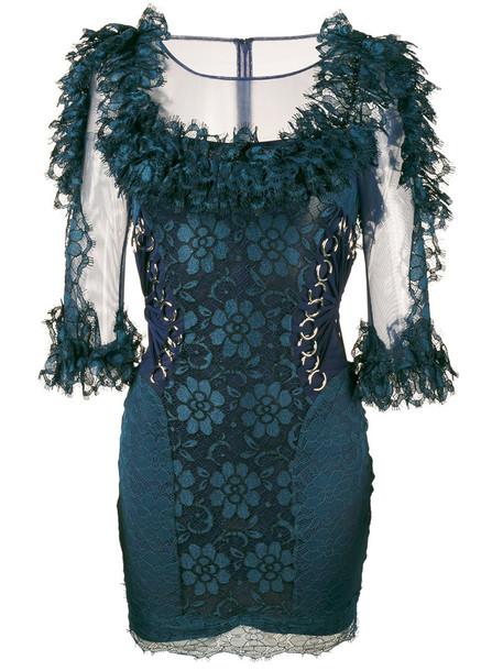 CHRISTOPHER KANE dress mini dress mini women lace blue