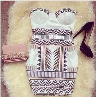dress tribal pattern mini dress bustier white dress ebonylace-streetfashion ebony lace