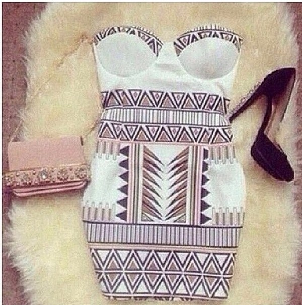 dress tribal pattern mini dress bustier white dress ebonylace-streetfashion ebonylace.storenvy
