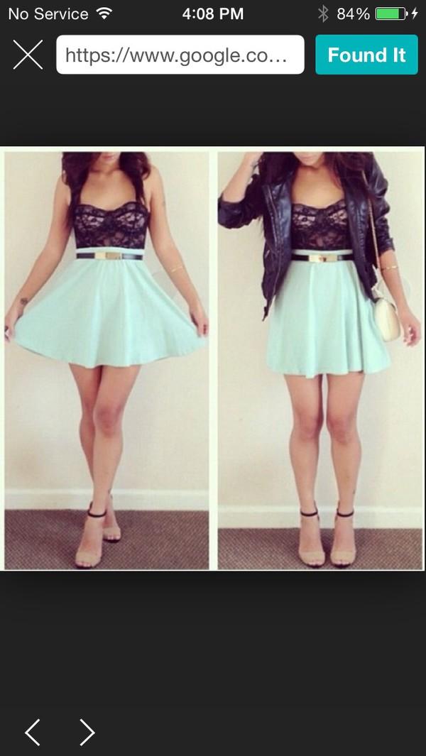 skirt mint skater skirt shirt belt