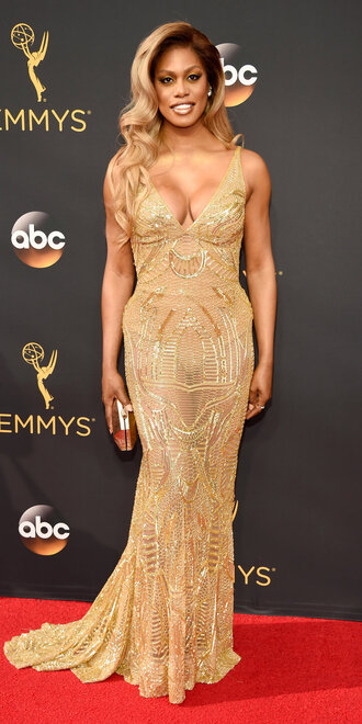 dress gold bustier dress laverne cox emmys 2016 prom dress gown red carpet dress
