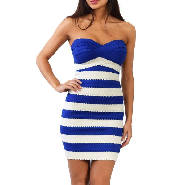 Lilly Navy and White Stripe Dress | Emprada