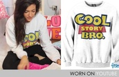 sweater,toy story,beth,white,cool story bro,cool story bro crewneck,white sweater,coat,sweatshirt