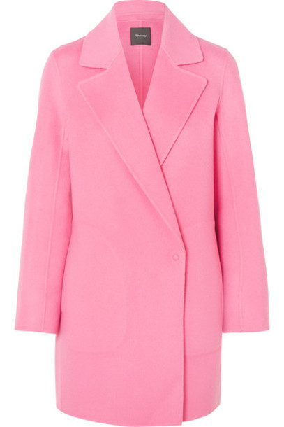 theory coat wool pink