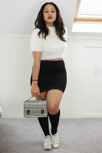 dress pullover white pullover black skirt black is the new black all about that bass shirt skirt curvy