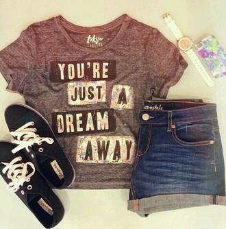 shirt grey t-shirt you're just a dream away