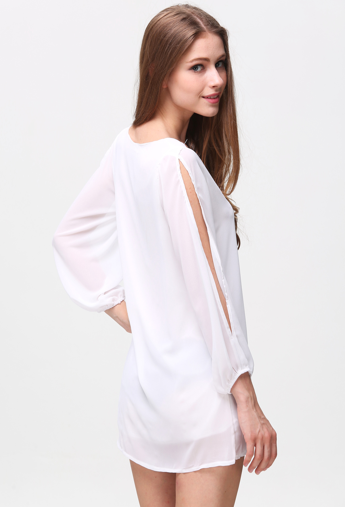 White Split Sleeve V Neck Loose Dress - Sheinside.com