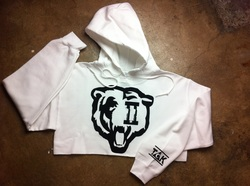 White/black women cropped *bears* pullover hoody
