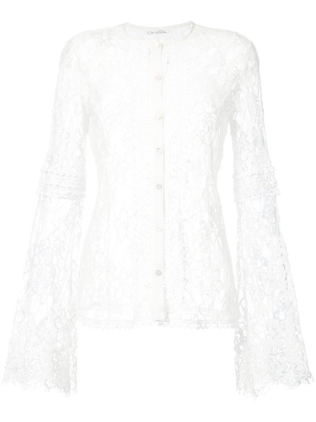 oscar de la renta top embroidered women lace white