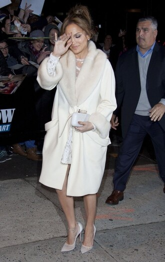 pumps jennifer lopez winter coat off-white shoes