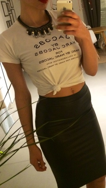 shirt marc jacobs white tee crop