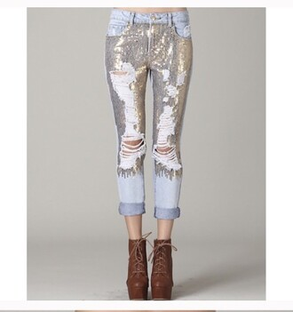 jeans blue ripped jeans & sequins