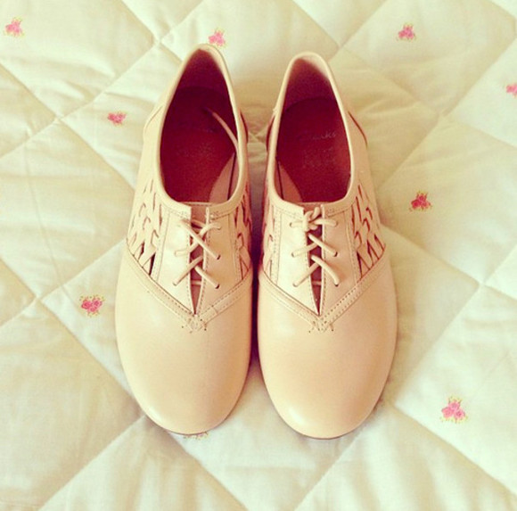 shoes brogues boots cute summer lace cream crochet suede girl spring autumn fashion oxford flats