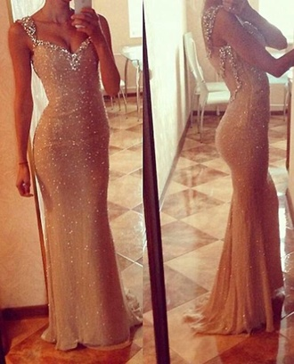 dress dress long formal evening sparkling dress nude dress prom gown