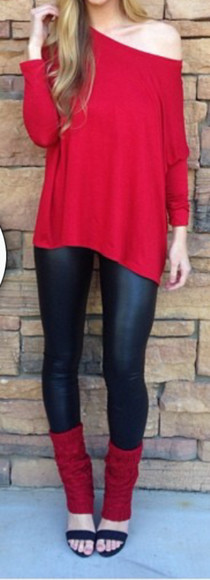 sweater off the shoulder sweater red