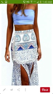 skirt,blue,crop tops,maxi,maxi skirt,high waisted skirt,boho skirt,hippie skirt,printed skirt,printed slit skirt,printed high waisted skirt,high waisted boho skirt,gypsy skirt,summer skirt,boho maxi,hippie maxi,slit maxi skirt,slit skirt,white,pattern,boho,white skirt,paisley,boho chic,purple,summer,tube top