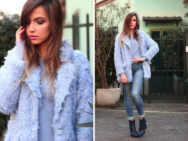 fashion quite blogger blue coat fuzzy coat skinny jeans