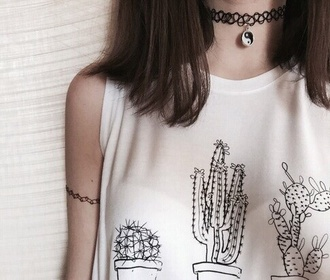 shirt white black broderies cactus hipster