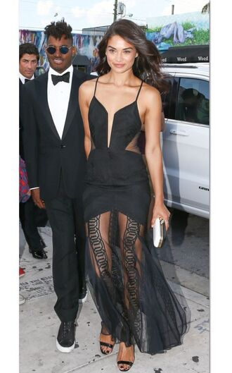 dress gown shanina shaik prom dress black dress lace dress sandals long prom dress see through dress