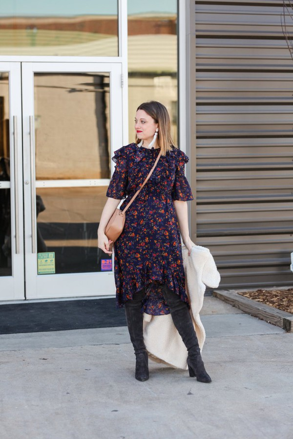 polishedclosets blogger dress coat shoes bag jewels make-up crossbody bag boots over the knee boots floral dress winter outfits