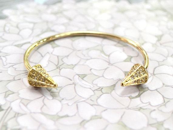 Rhinestone spike bracelet cuff  gold by jeneelovee on etsy