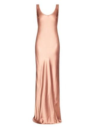 gown silk satin pink dress