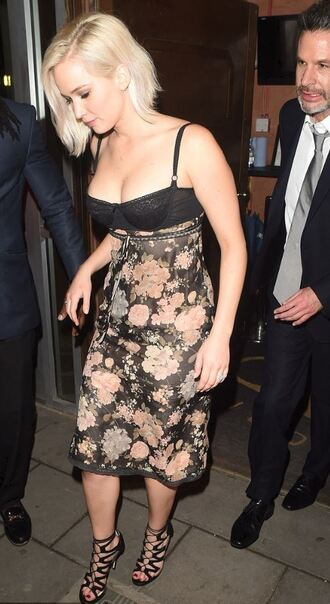 shoes dress jennifer lawrence midi dress floral floral dress bustier dress bustier