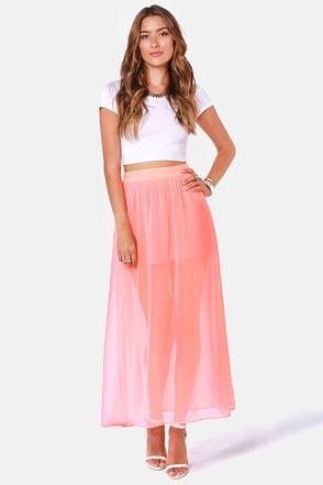 Cute Neon Coral Skirt - Maxi Skirt - $40.00