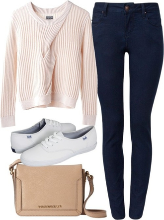sweater peach jeans blue navy bag nude bag white vans white vans peach sweater blue jeans high waisted