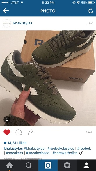 shoes olive green green sneakers reebok