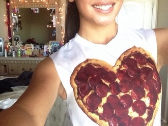 tank top pizza white shirt pizza shirt pizza tank top white tank white tank top pizza heart heart