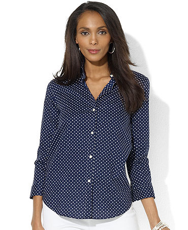 Lauren Ralph Lauren Plus Size Three-Quarter-Sleeve Polka-Dot Shirt - Plus Size Tops - Plus Sizes - Macy's