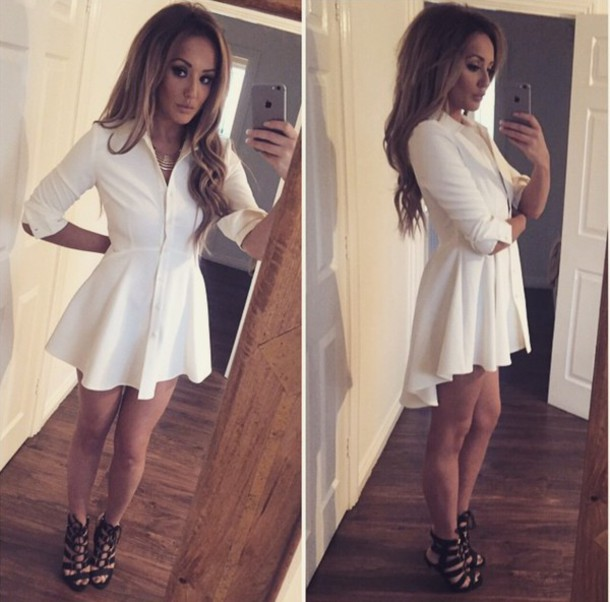 dress shirtdress white dress