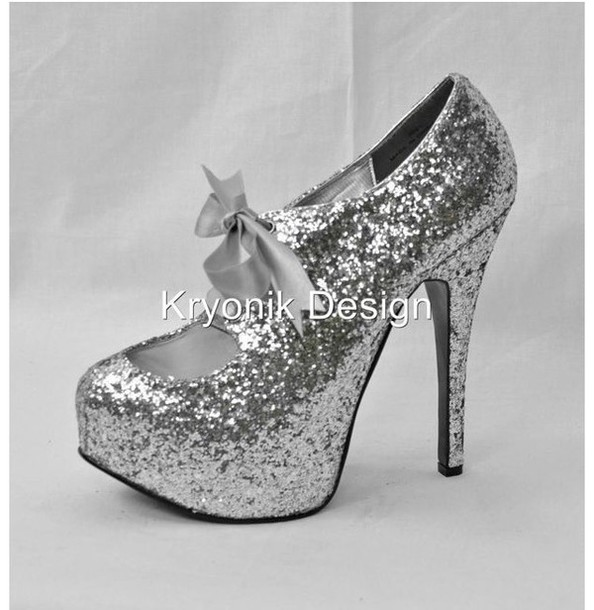 Shoes Silver Heels Pumps Bow Glitter Prom Size 5