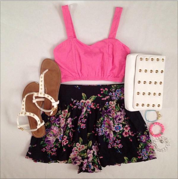 shorts floral florwers floral black pink tank top bustier bandeau bralette clutch white studs sandals bracelets clothes